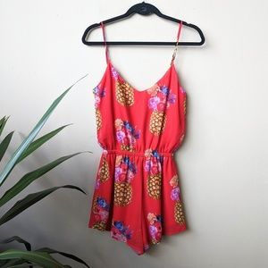 Show Me Your MuMu Rorey Pineapple Red Romper sz S